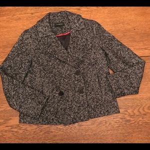 Talbots black and white tweedy boxy jacket